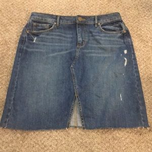 Loft distressed denim skirt